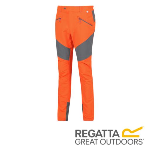 Regatta Men's Mountain Active Stretch Trousers – Regular – Seal Grey / Blaze