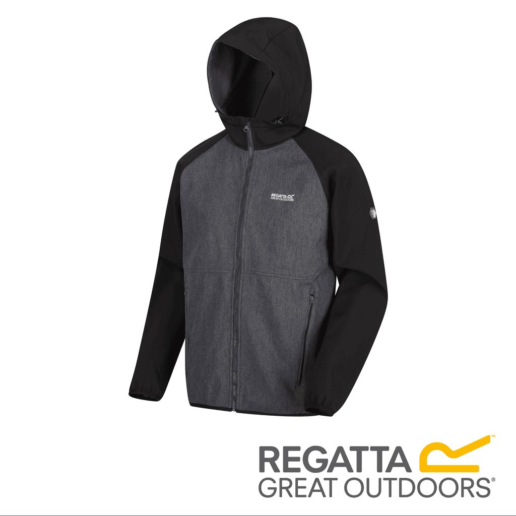Regatta Men's Arec II Hooded Softshell Jacket Black Seal Grey | Project X Adventures