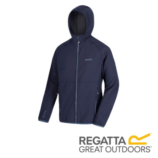Regatta Men's Arec II Hooded Softshell Jacket – Navy / Seal Grey