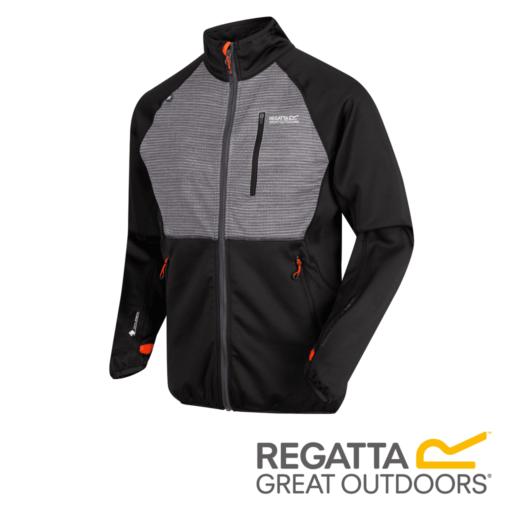 Regatta Men's Yare Knitted Stretch Softshell Jacket – Black / Seal Grey