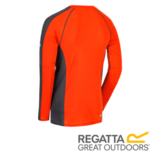 Regatta Men's Beru Overhead Base Layer Top – Blaze / Seal Grey