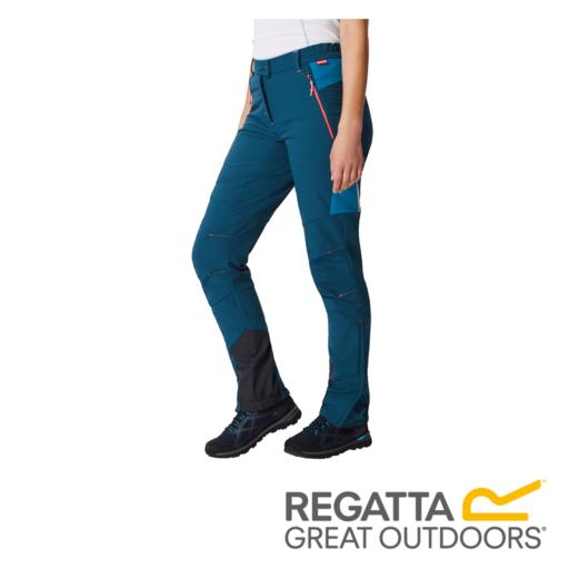 Regatta Women's Mountain Stretch Walking Trousers – Regular – Moroccan Blue / Blue Reef