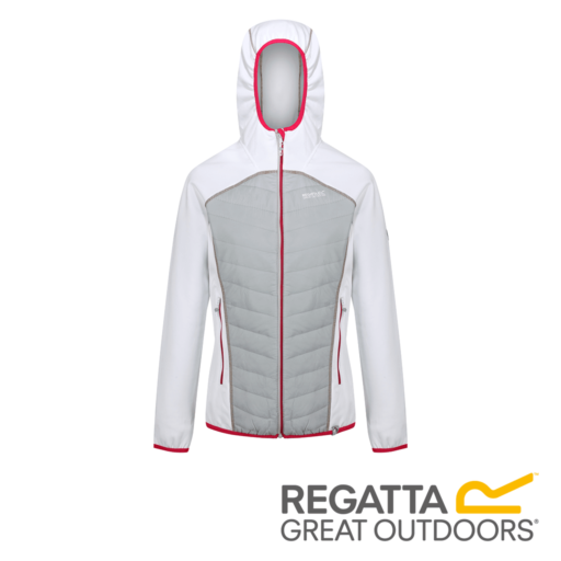 Regatta Women's Andreson IV Lightweight Hooded Hybrid – White / Light Steel
