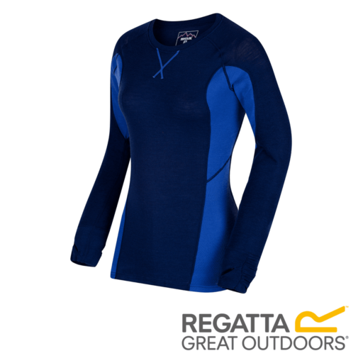 Regatta Women's Beru Overhead Base Layer Top – Twilight / Dazzling Blue