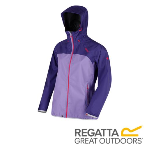 Regatta Women's Imber II Lightweight Hooded Waterproof Jacket – Elderberry / Paisly