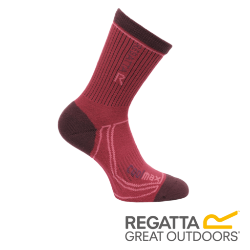 Regatta Women's 2 Season Coolmax Trek & Trail Socks – Dark Burgundy / Dark Pimento