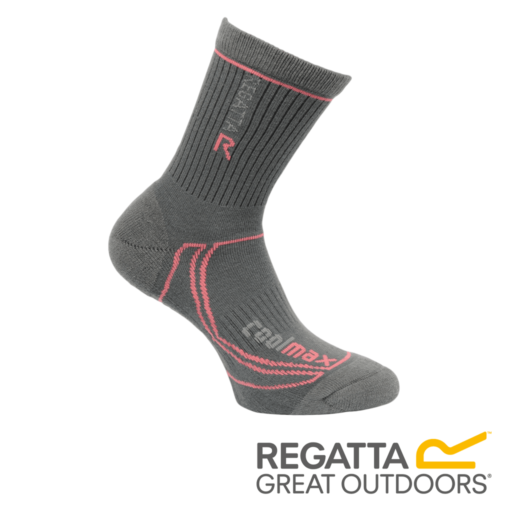 Regatta Women's 2 Season Coolmax Trek & Trail Socks – Iron / Coral