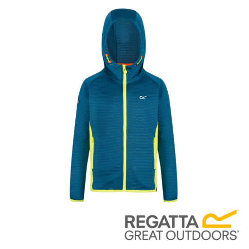 Regatta Kid's Tarnley Hooded Fleece – Sea Blue / Lime Punch