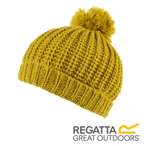 Regatta Kid's Luminosity II Reflective Knit Bobble Hat – Mustard Seed