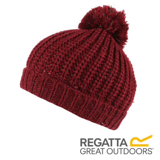 Regatta Kid's Luminosity II Reflective Knit Bobble Hat – Delhi Red