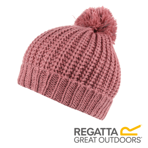 Regatta Kid's Luminosity II Reflective Knit Bobble Hat – Dusty Rose