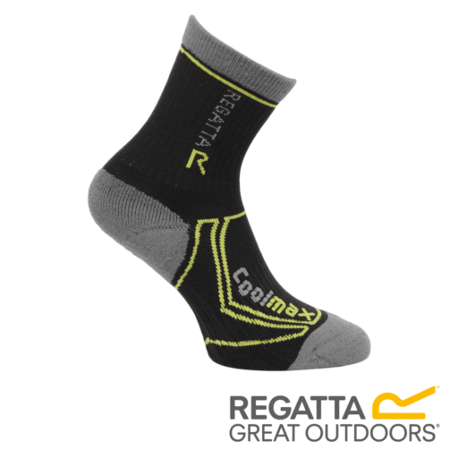 Regatta Kid's 2 Season Coolmax Trek & Trail Socks – Black / Oasis Green