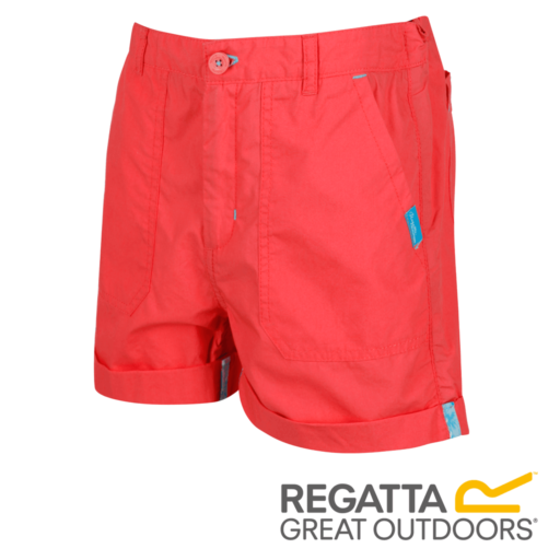 Regatta Kid's Damzel Cool Weave Cotton Shorts – Neon Peach