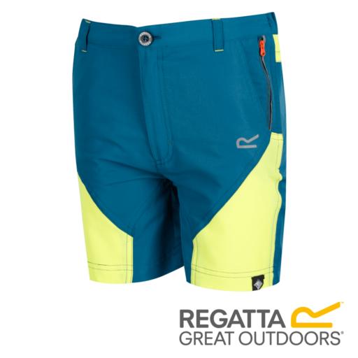 Regatta Kid's Sorcer Mountain Shorts – Sea Blue / Lime Punch