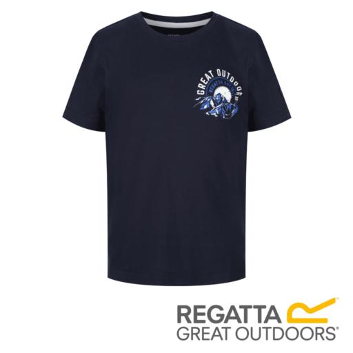 Regatta Kid's Bosley II Adventure Graphic Print T-Shirt – Navy / White