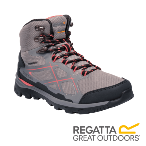 Regatta Women's Kota Mid Walking Boots – Rock Grey / Neon Peach