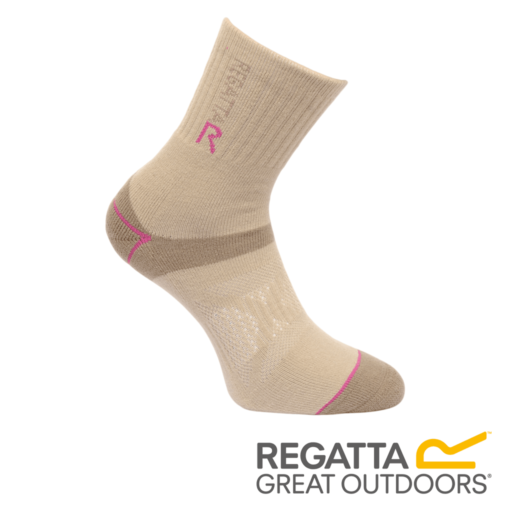 Regatta Women's Two Layer Blister Protection Socks – Taupe / Vivid Viola