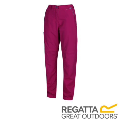 Regatta Women's Chaska Zip Off Hiking Trousers – Regular – Beetroot