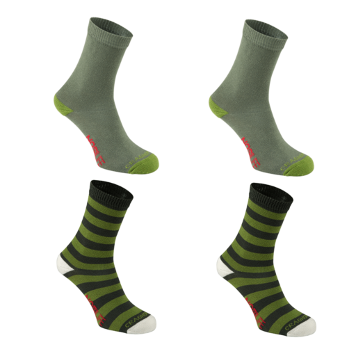 Craghoppers Kid's NosiLife Travel Socks Twin Pack – Dark Khaki / Spiced Lime – Twin Pack
