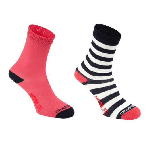 Craghoppers Kid's NosiLife Travel Socks Twin Pack – Soft Navy / Watermelon – Twin Pack