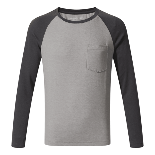 Craghoppers Boy's NosiLife Lorenzo Long Sleeved T-Shirt – Black Pepper Marl / Soft Grey Marl