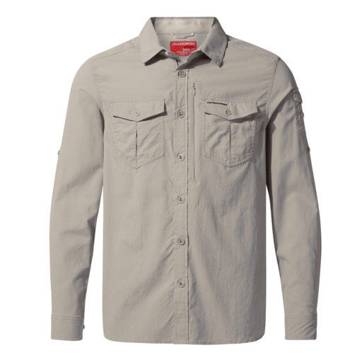Craghoppers Men's NosiLife Adventure II Long Sleeved Shirt – Parchment