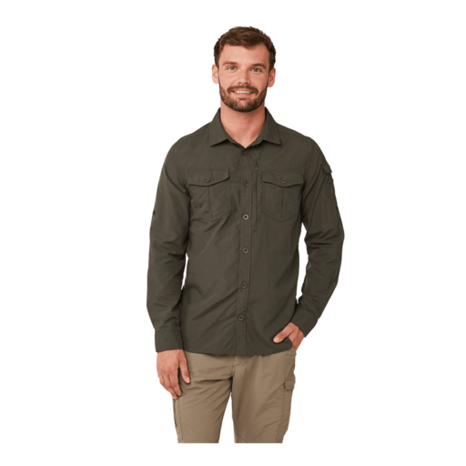 Craghoppers Men's NosiLife Adventure II Long Sleeved Shirt – Dark Khaki