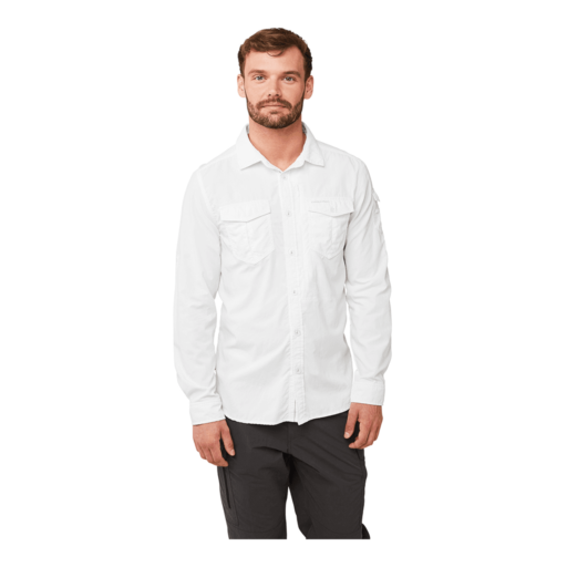 Craghoppers Men's NosiLife Adventure II Long Sleeved Shirt – Optic White