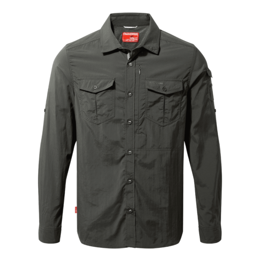 Craghoppers Men's NosiLife Adventure II Long Sleeved Shirt – Black Pepper