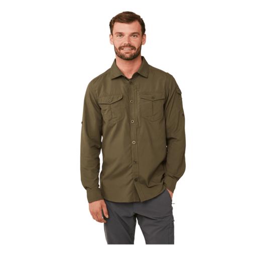 Craghoppers Men's NosiLife Adventure II Long Sleeved Shirt – Dark Moss