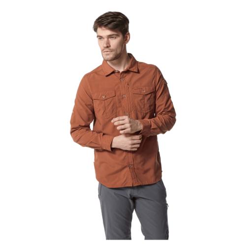 Craghoppers Men's NosiLife Adventure II Long Sleeved Shirt – Burnt Whisky