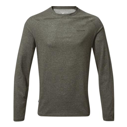 Craghoppers Men's NosiLife Bayame II Long Sleeved T-Shirt – Black Pepper Marl