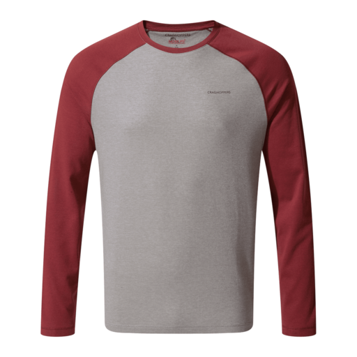 Craghoppers Men's NosiLife Bayame II Long Sleeved T-Shirt – Soft Grey Marl / Firth Red