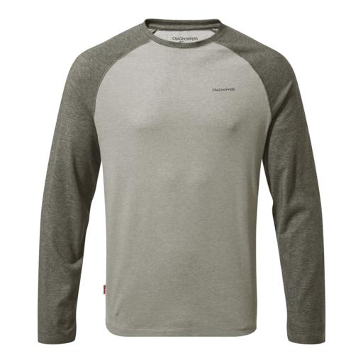 Craghoppers Men's NosiLife Bayame II Long Sleeved T-Shirt – Black Pepper Marl / Soft Grey Marl
