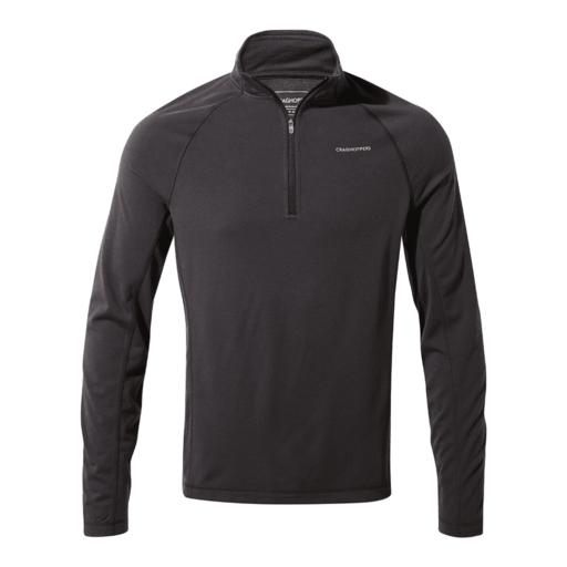 Craghoppers Men's First Layer Half Zip T-Shirt – Black Pepper