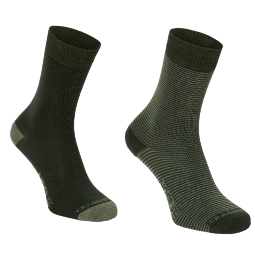 Craghoppers Women's NosiLife Twin Pack Socks – Parka Green / Dry Grass – Twin Pack