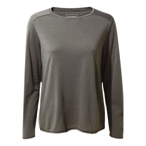 Craghoppers Women's First Layer Long Sleeved T-Shirt – Charcoal Stripe
