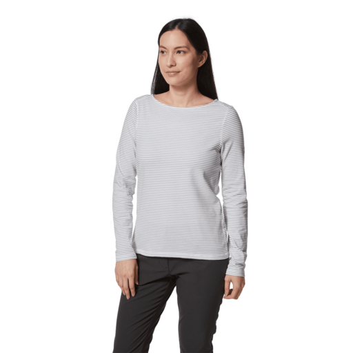 Craghoppers Women's NosiLife Erin II Long Sleeved Top – Soft Grey Marl Stripe