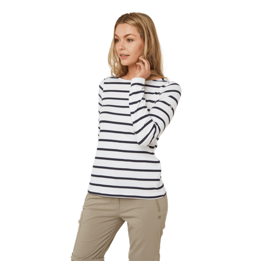 Craghoppers Women's NosiLife Erin II Long Sleeved Top – Blue Navy / Optic White Stripe