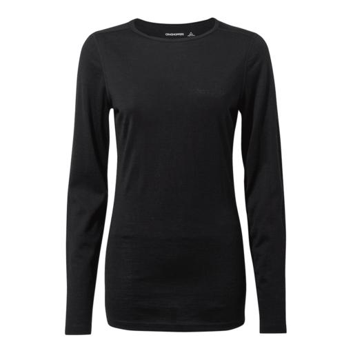 Craghoppers Women's Merino Crew Neck Long Sleeved Baselayer II – Black