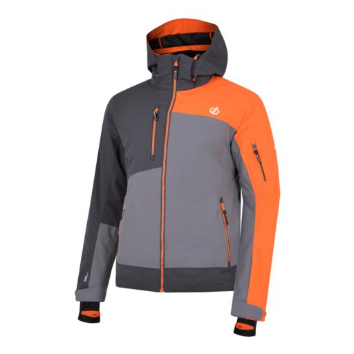 Dare 2b Men's Travail Pro Ski Jacket – Aluminium Grey / Ebony Grey / Clementine Orange