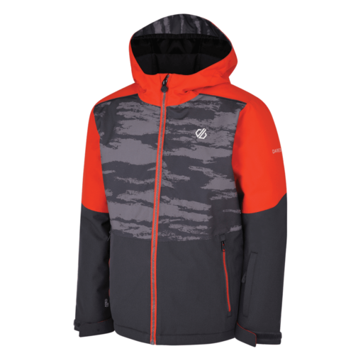 Dare 2b Kid's Aviate Ski Jacket  – Ebony Grey / Aluminium Grey Camo Print / Fiery Red