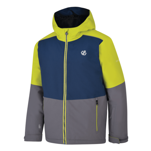Dare 2b Kid's Aviate Ski Jacket  – Aluminium Grey / Admiral Blue / Citron Lime