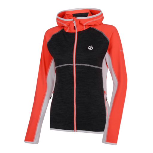 Dare 2b Women's Courteous Core Stretch Midlayer – Fiery Coral / Charcoal Grey Marl / White