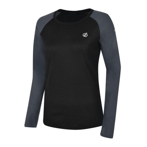 Dare 2b Women's Exchange Base Layer Long Sleeve Tee – Black / Ebony Grey
