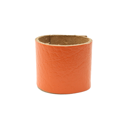 Simple Loop Leather Woggle – Thin Leather – Orange