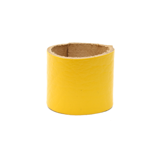 Simple Loop Leather Woggle – Thin Leather – Yellow