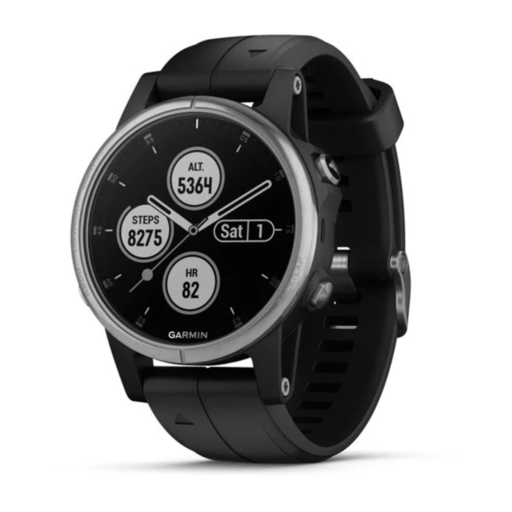 Garmin Fenix 5s PLUS Watch – Silver with Black Band