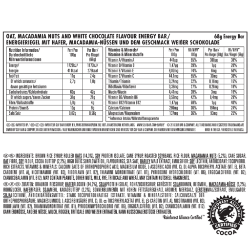 Clif Original Bar – White Chocolate Macadamia