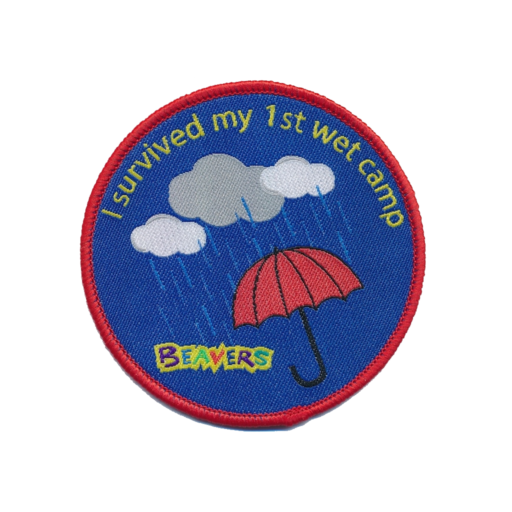 """Beavers """"I Survived My 1st Wet Camp"""" Fun Badge"""